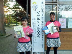第59回あづま総合運動公園庭球場オープン記念ダブルステニス大会一般女子の部優勝