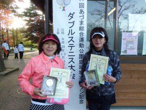 第59回あづま総合運動公園庭球場オープン記念ダブルステニス大会50歳以上女子の部優勝