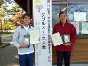 第59回あづま総合運動公園庭球場オープン記念ダブルステニス大会45歳以上男子の部優勝