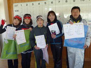 第43回福島県ダブルステニス選手権大会50歳女子ダブルス50歳男子ダブルス入賞者