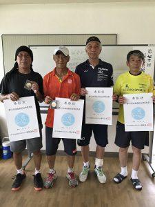 第70回福島県総合体育大会テニス競技60歳男子シングルス・ダブルス65歳シングルス・ダブルス入賞者
