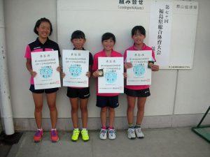 第70回福島県総合体育大会テニス競技スポーツ少年団の部小学生女子ダブルス入賞者1位2位