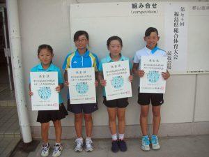 第70回福島県総合体育大会テニス競技スポーツ少年団の部小学生女子ダブルス入賞者3位