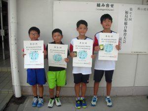 第70回福島県総合体育大会テニス競技スポーツ少年団の部小学生男子ダブルス入賞者1位2位