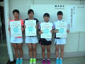 第70回福島県総合体育大会テニス競技スポーツ少年団の部中学生女子ダブルス入賞者1位2位