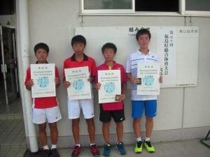 第70回福島県総合体育大会テニス競技スポーツ少年団の部中学生男子ダブルス入賞者1位2位
