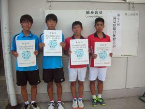 第70回福島県総合体育大会テニス競技スポーツ少年団の部中学生男子ダブルス入賞者3位