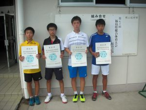 第70回福島県総合体育大会テニス競技スポーツ少年団の部中学生男子シングルス入賞者