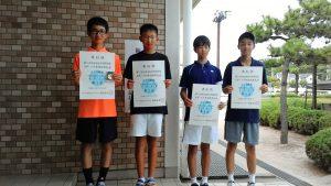 第71回福島県総合体育大会テニス競技スポーツ少年団の部中学生男子シングルス入賞者