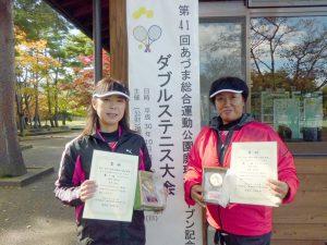 第41回あづま総合運動公園庭球場オープン記念ダブルステニス大会50歳以上女子ダブルス優勝