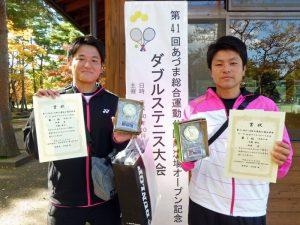 第41回あづま総合運動公園庭球場オープン記念ダブルステニス大会一般男子ダブルス優勝
