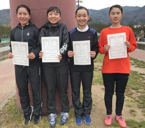 36回福島県春季ジュニアシングルステニス選手権大会U16の部女子入賞者