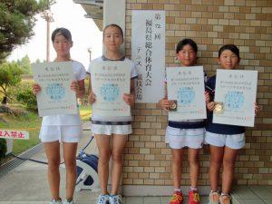 第72回福島県総合体育大会テニス競技スポーツ少年団の部小学生女子ダブルス入賞者
