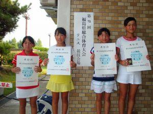 第72回福島県総合体育大会テニス競技スポーツ少年団の部小学生女子シングルス入賞者