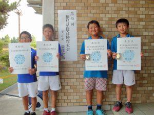 第72回福島県総合体育大会テニス競技スポーツ少年団の部小学生男子ダブルス入賞者
