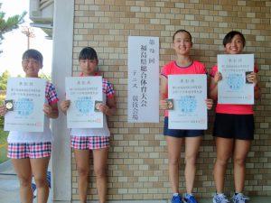 第72回福島県総合体育大会テニス競技スポーツ少年団の部中学生女子ダブルス入賞者