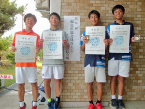 第72回福島県総合体育大会テニス競技スポーツ少年団の部中学生男子ダブルス入賞者