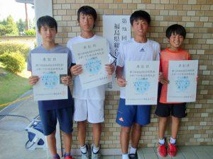 第72回福島県総合体育大会テニス競技スポーツ少年団の部中学生男子シングルス入賞者