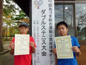 第42回あづま総合運動公園庭球場オープン記念ダブルステニス大会小学生の部男子優勝