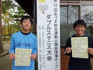 第42回あづま総合運動公園庭球場オープン記念ダブルステニス大会中学生の部男子優勝