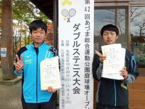 第42回あづま総合運動公園庭球場オープン記念ダブルステニス大会ビギナー男子優勝
