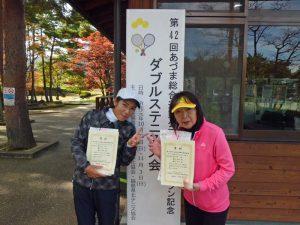 第42回あづま総合運動公園庭球場オープン記念ダブルステニス大会50歳以上女子優勝