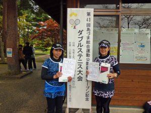 第43回あづま総合運動公園庭球場オープン記念ダブルステニス大会50歳女子優勝
