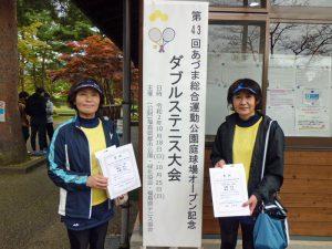 第43回あづま総合運動公園庭球場オープン記念ダブルステニス大会ビギナー女子優勝