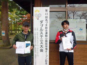 第43回あづま総合運動公園庭球場オープン記念ダブルステニス大会ビギナー男子優勝
