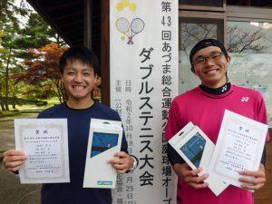 第43回あづま総合運動公園庭球場オープン記念ダブルステニス大会一般男子優勝