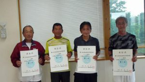 第74回福島県総合体育大会テニス競技65歳以上男子ダブルス入賞者