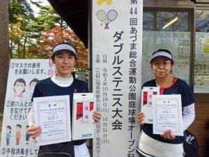 第44回あづま総合運動公園庭球場オープン記念ダブルステニス大会ビギナー女子の部優勝