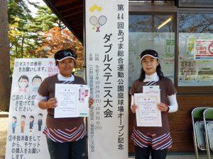 第44回あづま総合運動公園庭球場オープン記念ダブルステニス大会女子50歳の部優勝