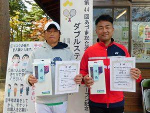第44回あづま総合運動公園庭球場オープン記念ダブルステニス大会一般男子45歳の部優勝